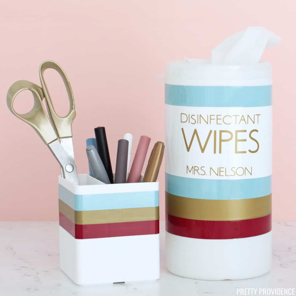 Striped pencil cup and disinfectant wipes container personalized for teacher gift