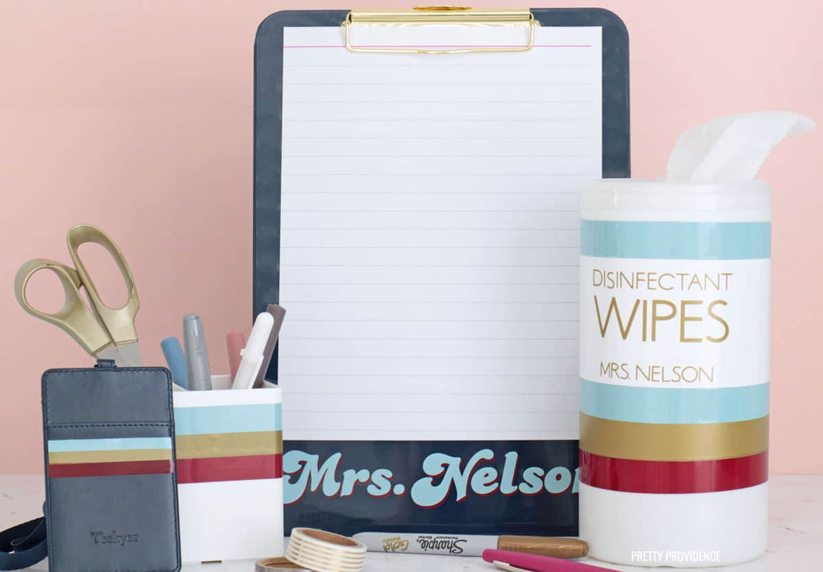 personalized teacher supplies -clipboard, disinfectant wipes, pencil cup and badge, lanyard