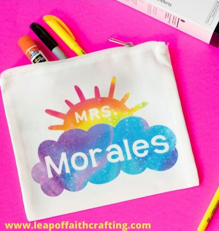 Pencil Bag with 'Mrs. Morales' name on it and a cloud and sunburst image