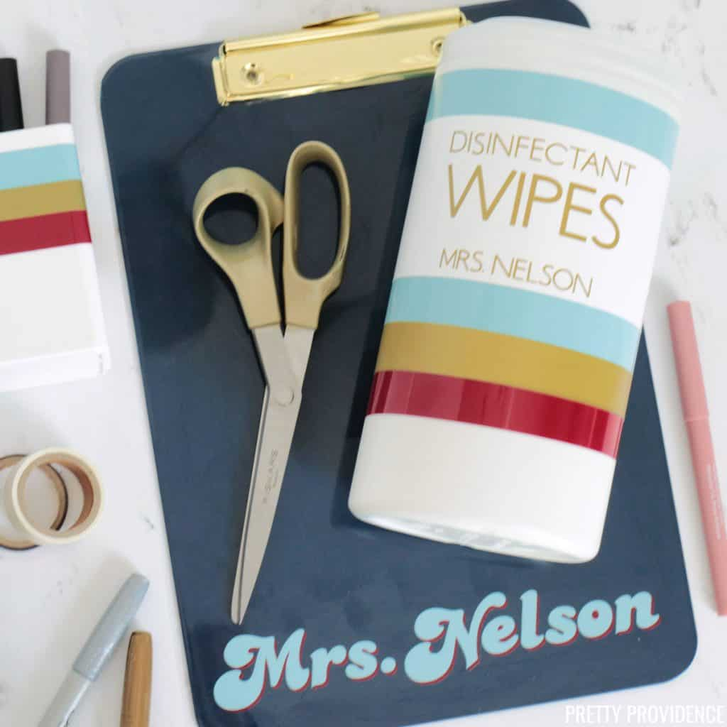 Personalized teacher gifts with teachers name and vinyl stripes