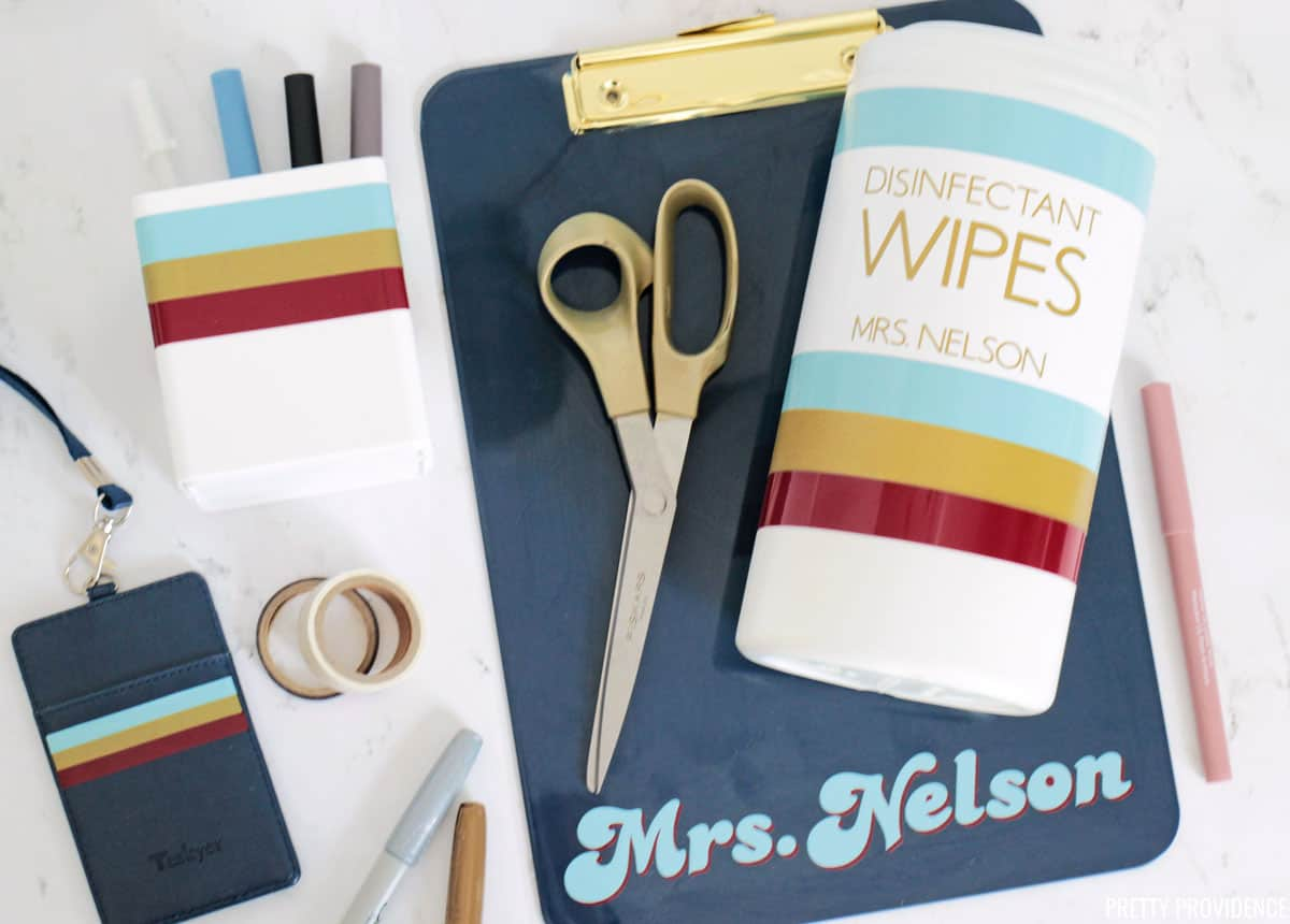 """Teacher supplies with vinyl stripes on them and the name """"Mrs. Nelson"""" personalized teacher gifts"""