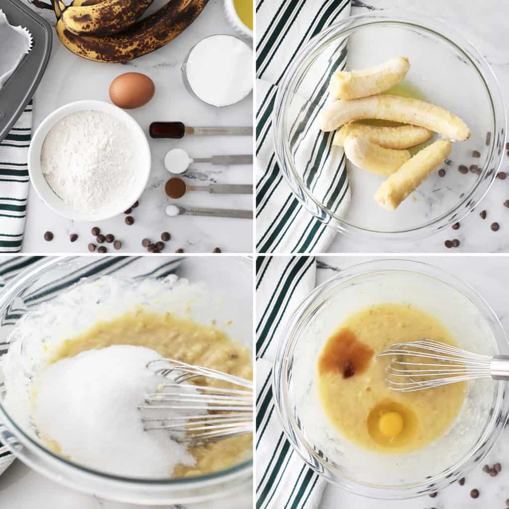 step by step photo collage of how to make banana bread mini loaves