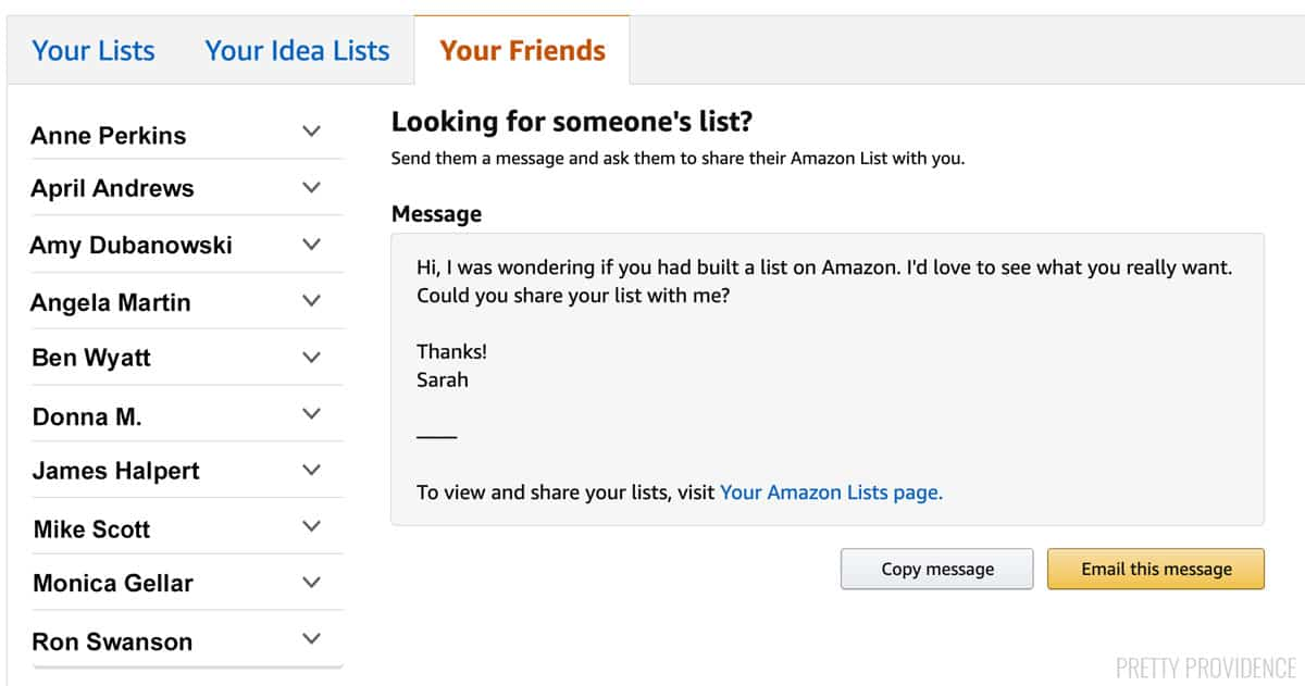 How to find an Amazon wish list - message page on Amazon website