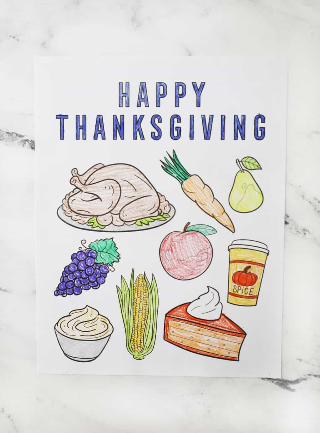 colored happy thanksgiving coloring page