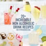 a collage of images of non alcoholic drinks for Pinterest