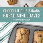 two images of chocolate chip banana bread optimized for Pinterest