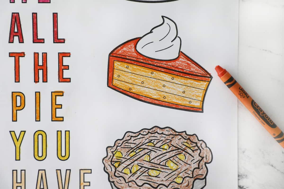 pumpkin pie colored orange on a thanksgiving coloring page