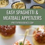 spaghetti and meatball appetizers two images combined for Pinterest