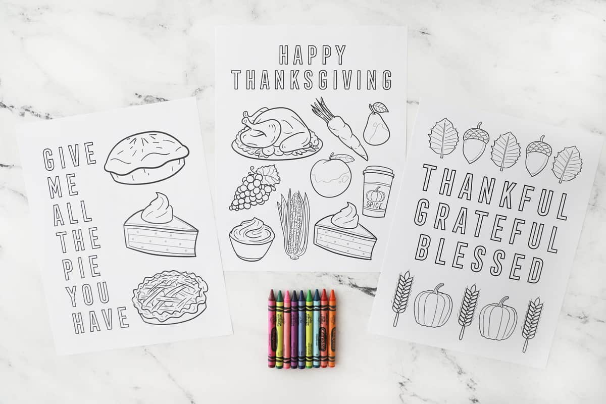 three blank free printable thanksgiving coloring pages