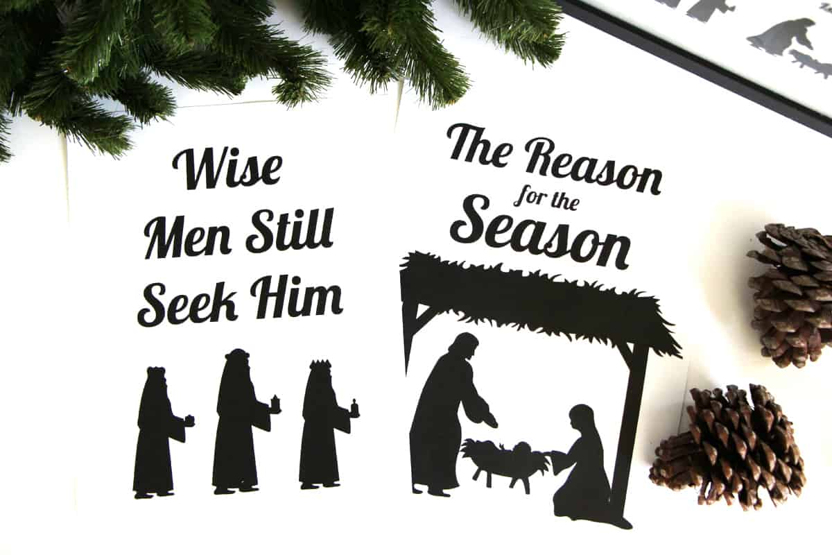 flat lay of two black and white nativity scene printables