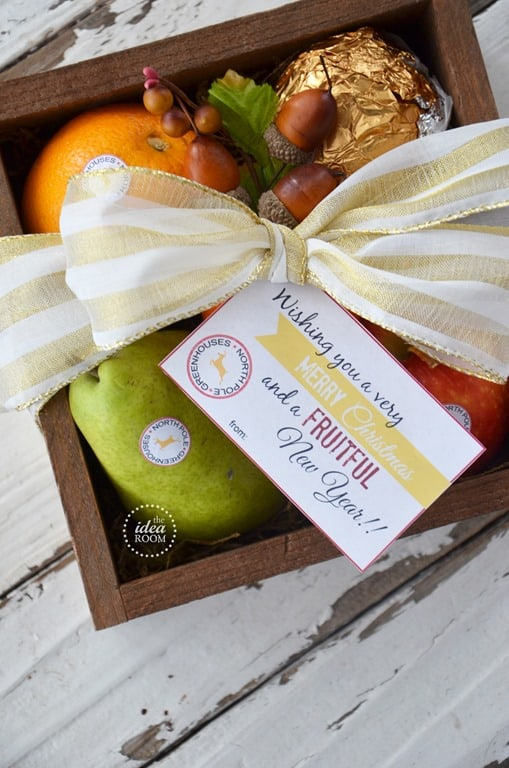 Fruit basket with Christmas gift tag and homemade produce stickers