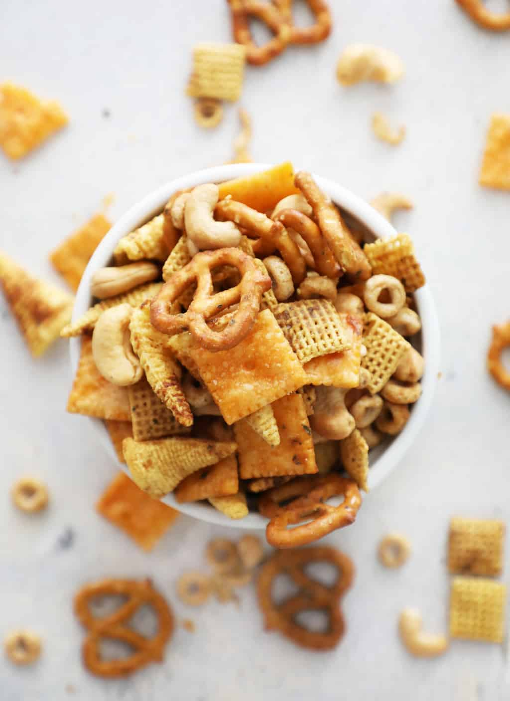 birds eye view of Chex mix ranch flavor on white countertop