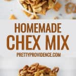 two images of Chex mix combined and optimized for pinterest