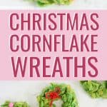Cornflake wreaths Christmas treats with candies and licorice bows