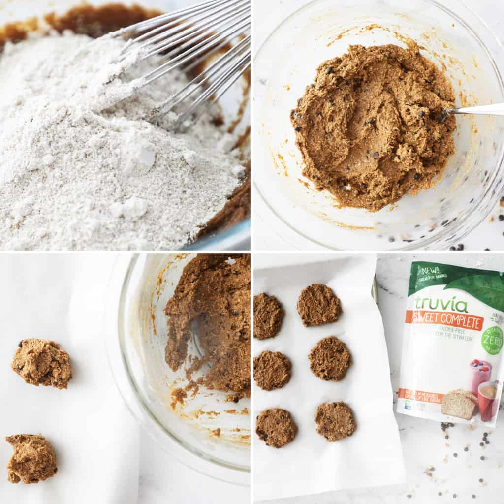 last four steps to making pumpkin cookies in collage image