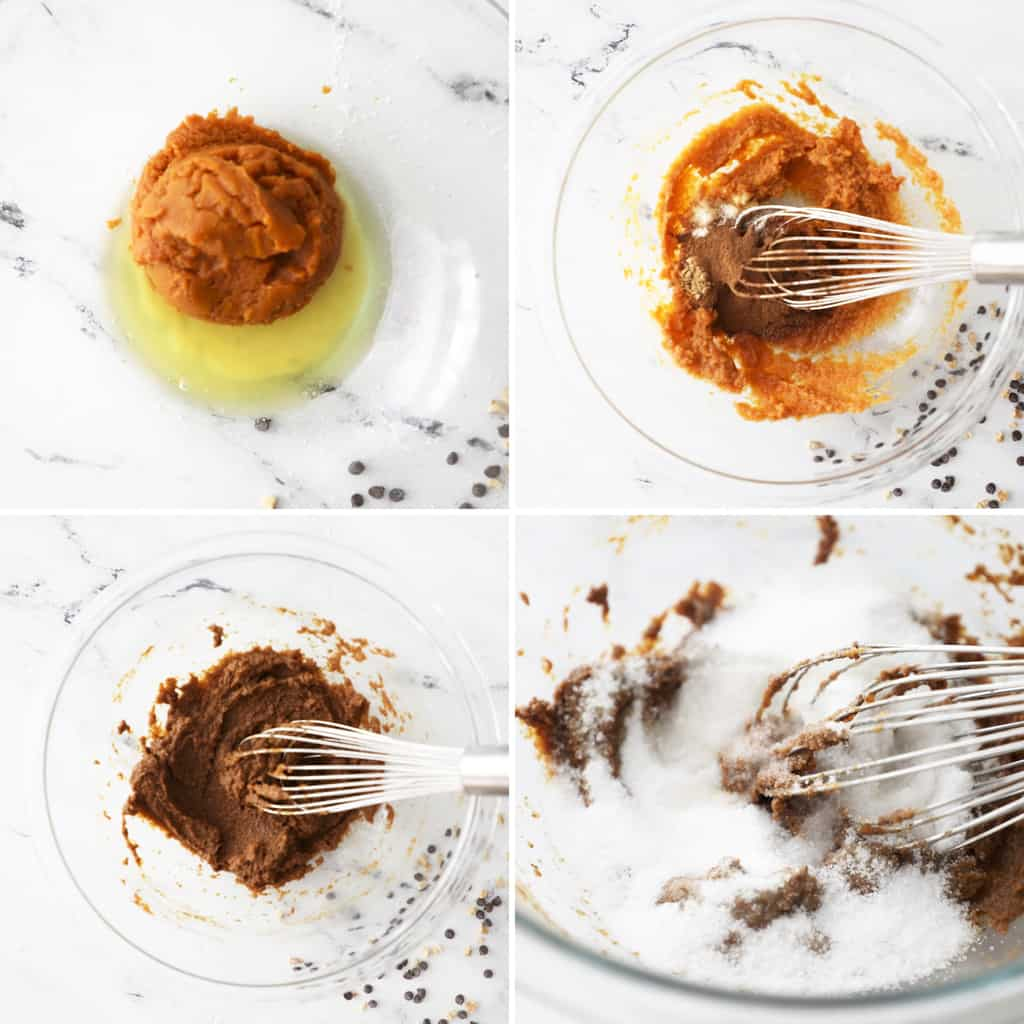 first four steps of making pumpkin oatmeal cookies in a collage image