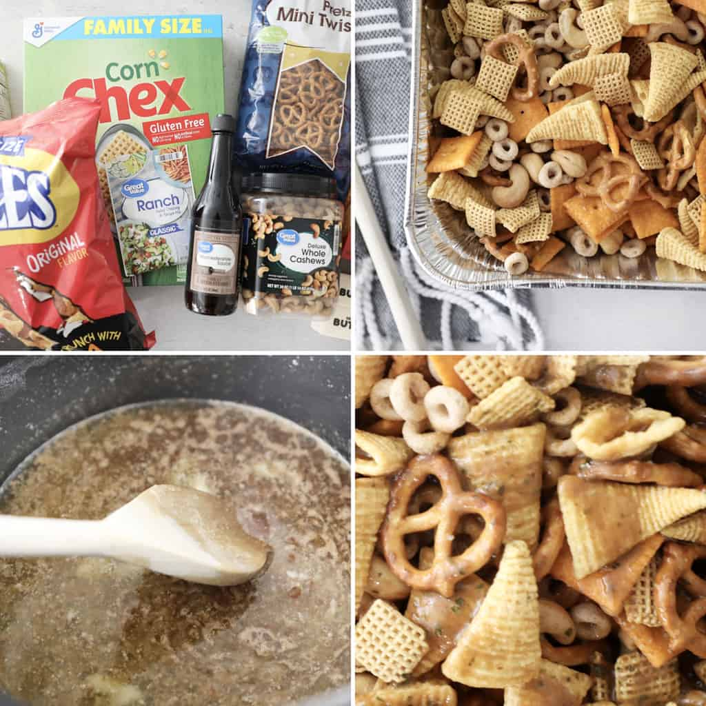 step by step photos of how to make homemade snack mix