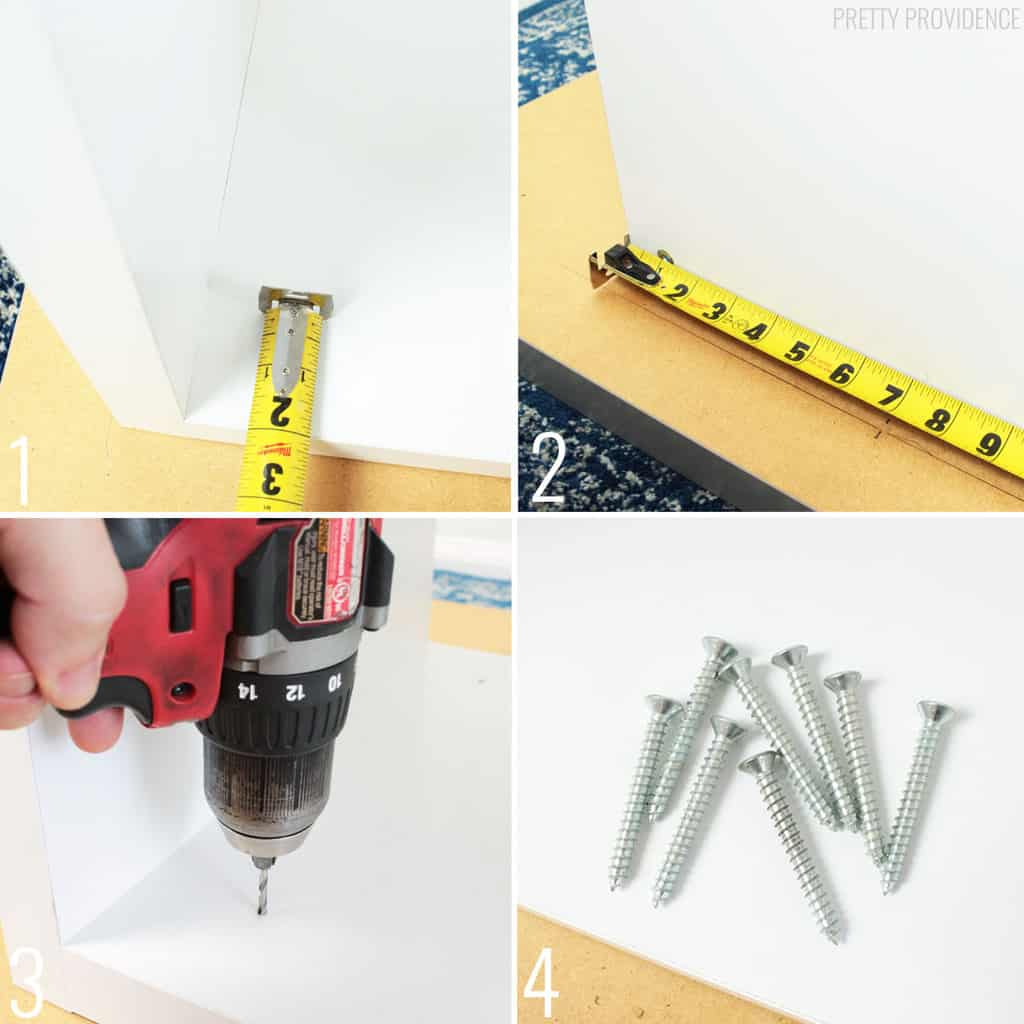 collage of measuring, drilling and assembling a desk