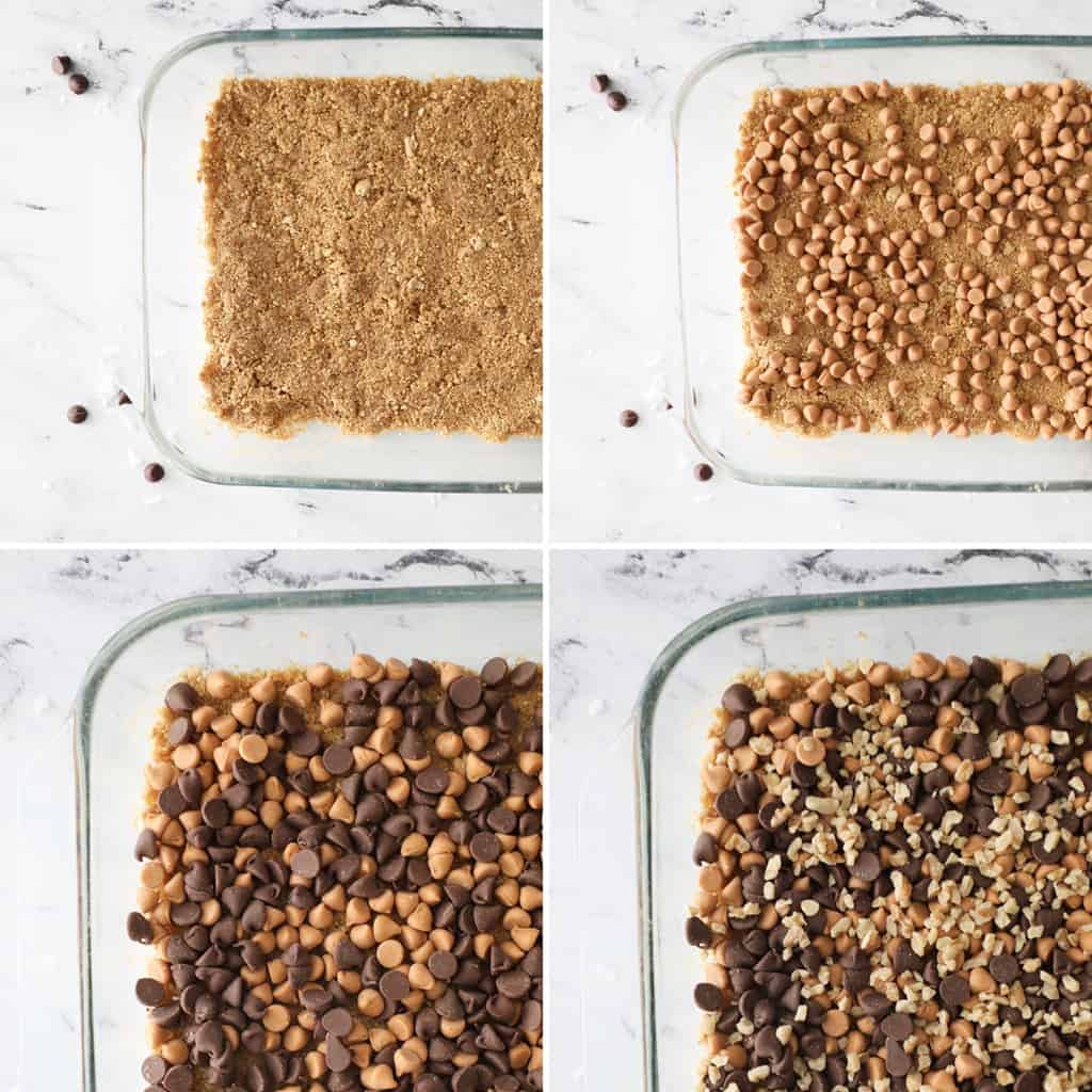 the first four steps of magic cookie bars in a collage image