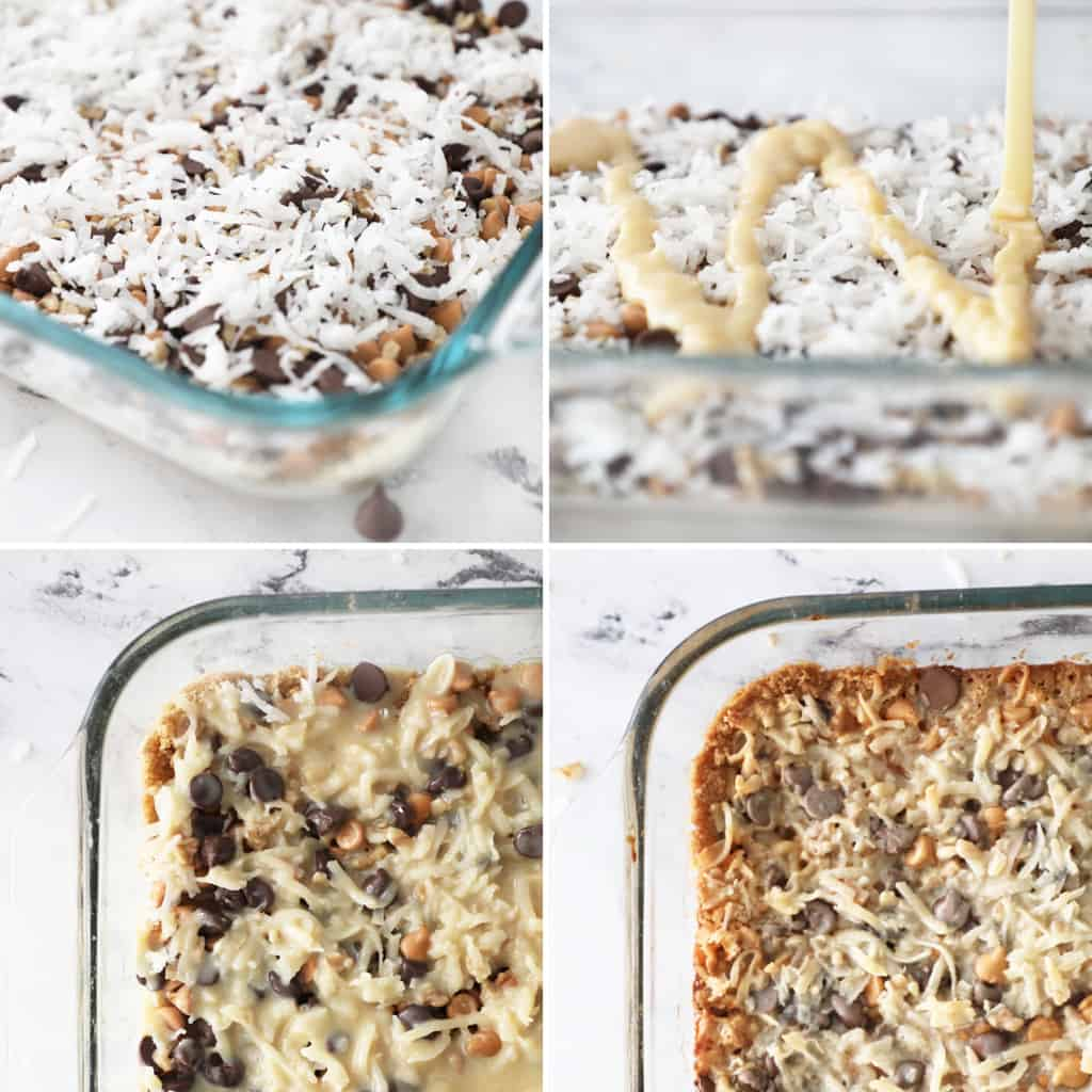 the last four steps to making seven layer bars in a collage