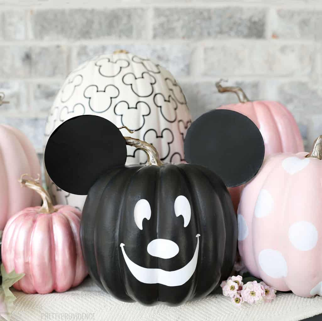 No-Carve mickey mouse pumpkins, black, white and pink