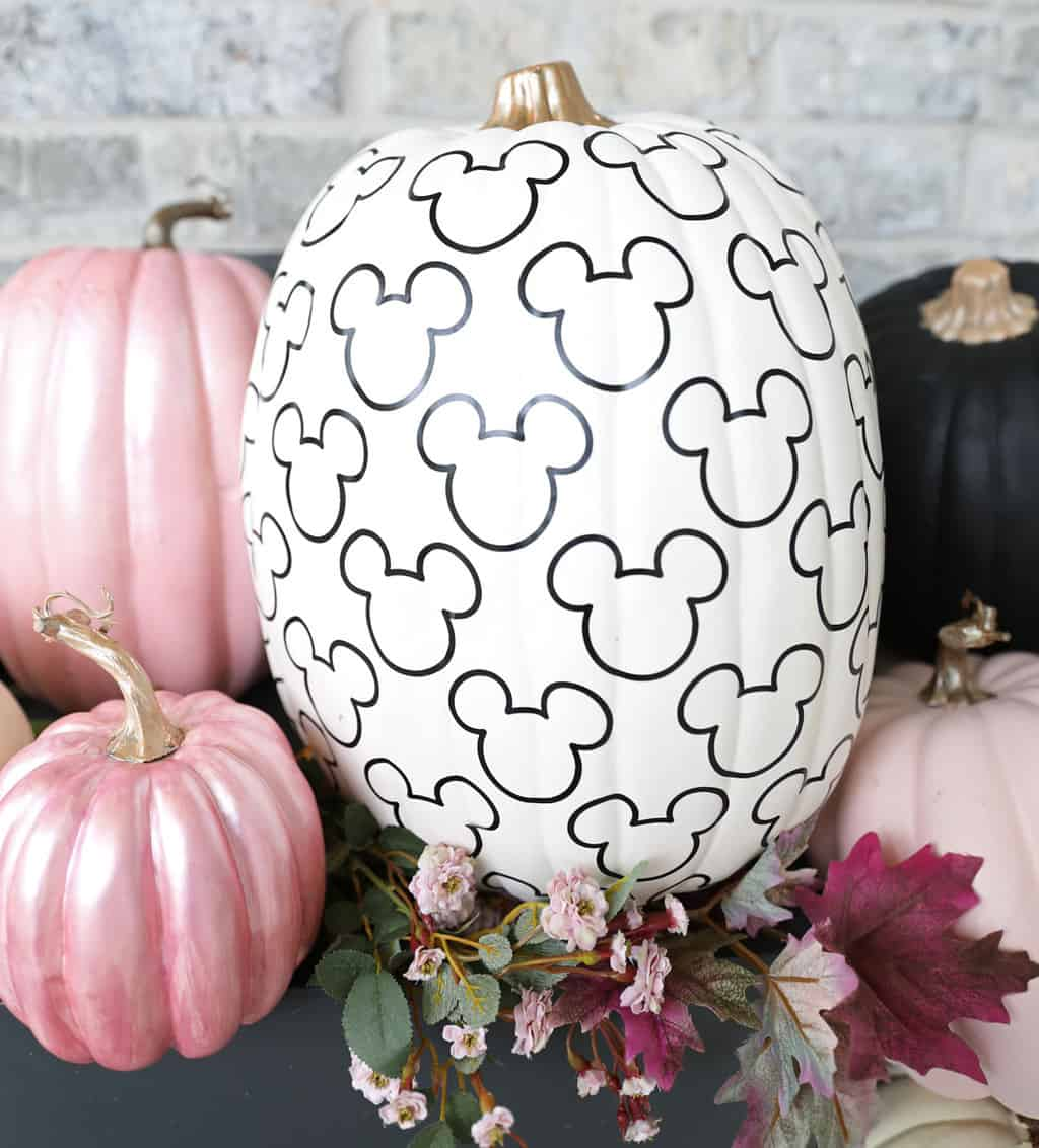 Mickey Mouse pattern on a white pumpkin