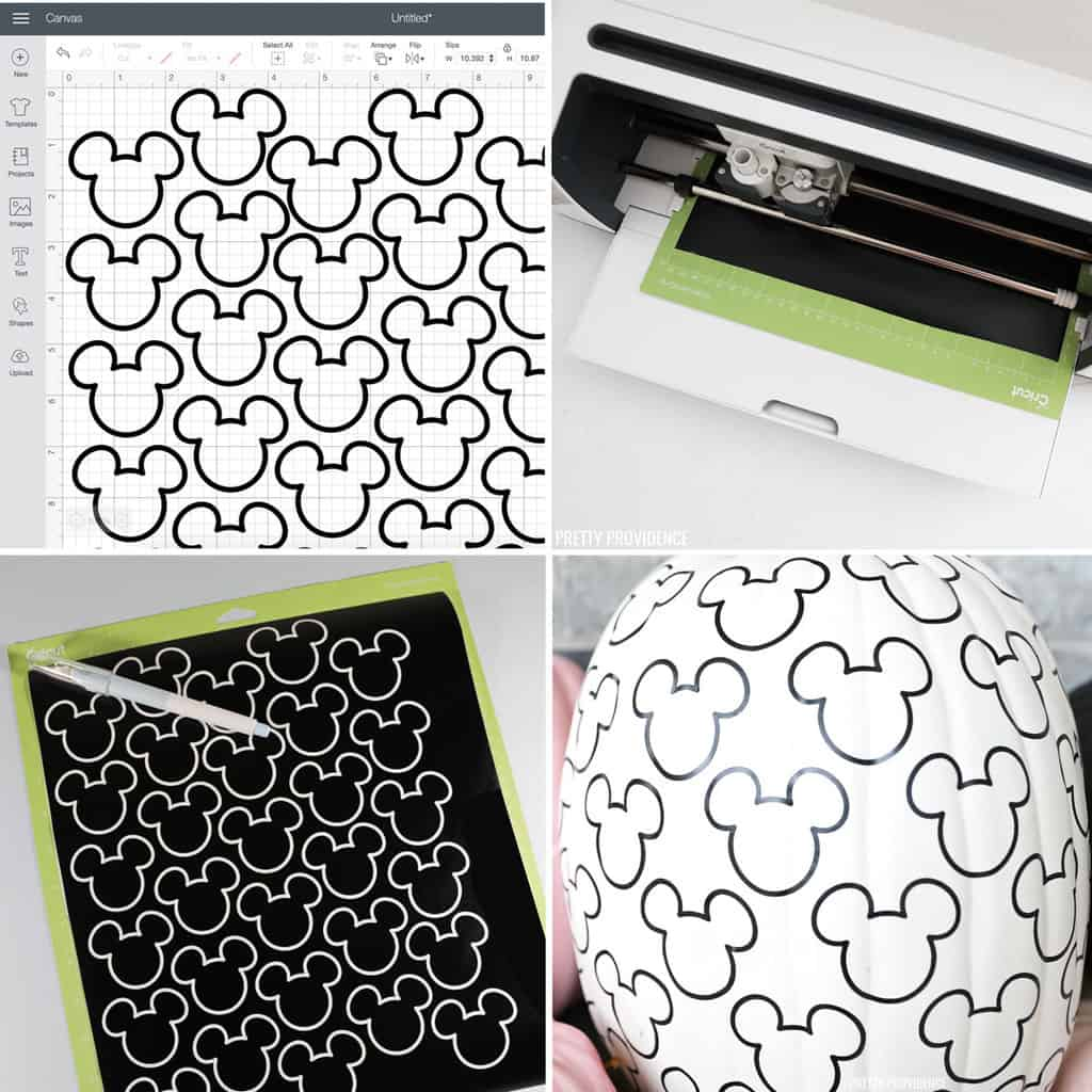 Step by step how to use Cricut to cut Mickey shapes with vinyl