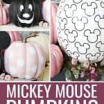 Collage of three Mickey Mouse pumpkins on a porch