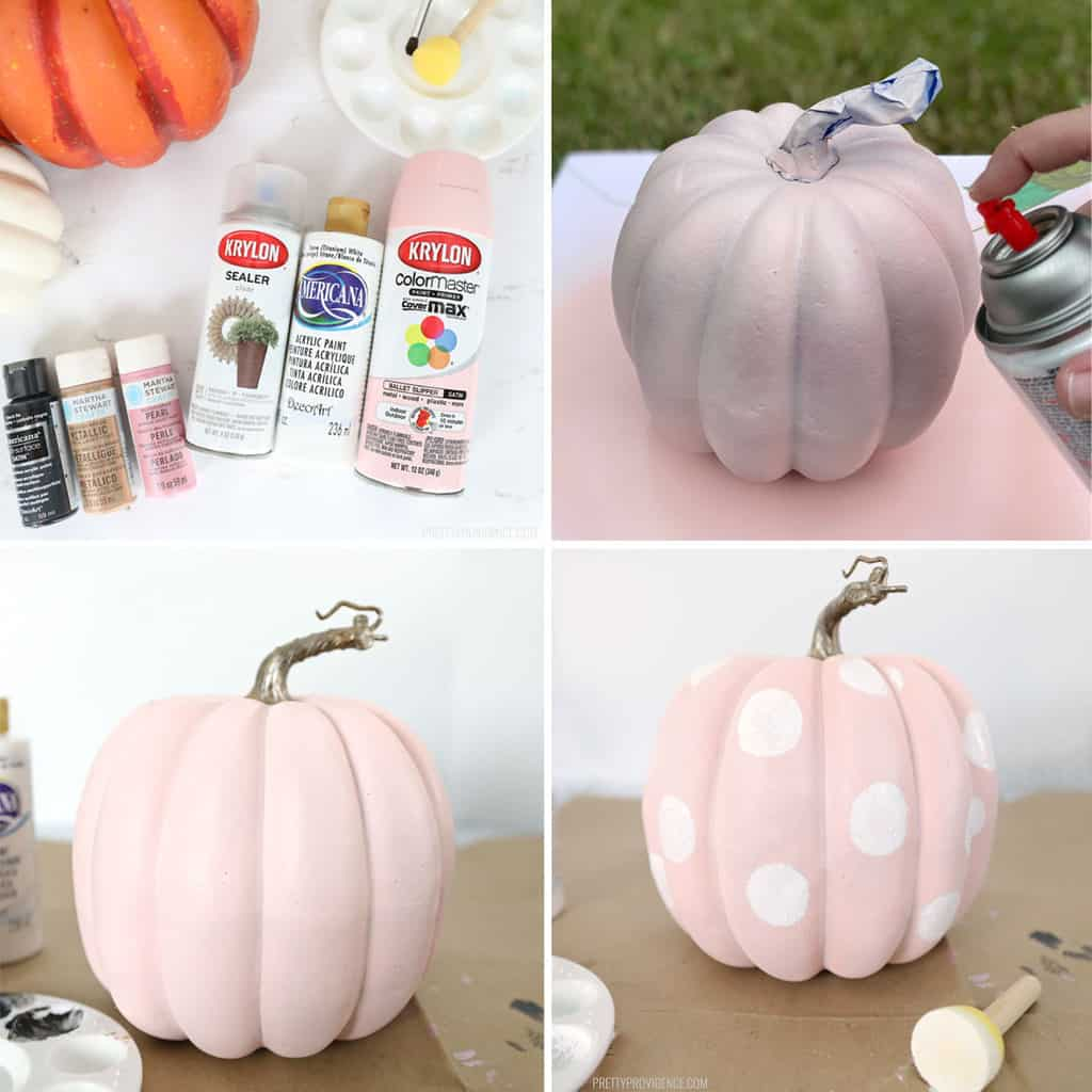step by step collage of pumpkin being painted pink and white polka dots