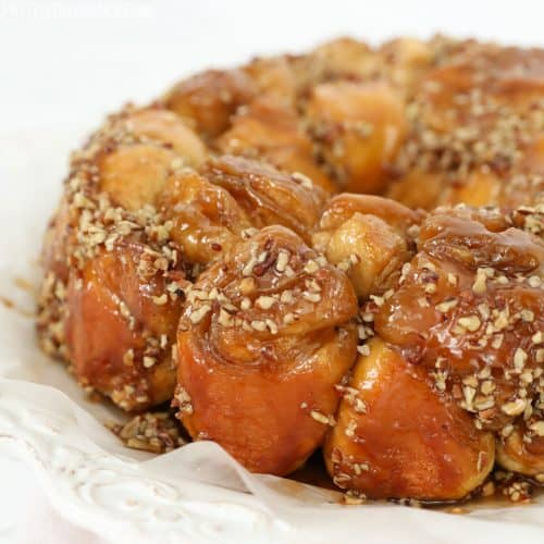 Caramel pecan Monkey Bread on a white plate