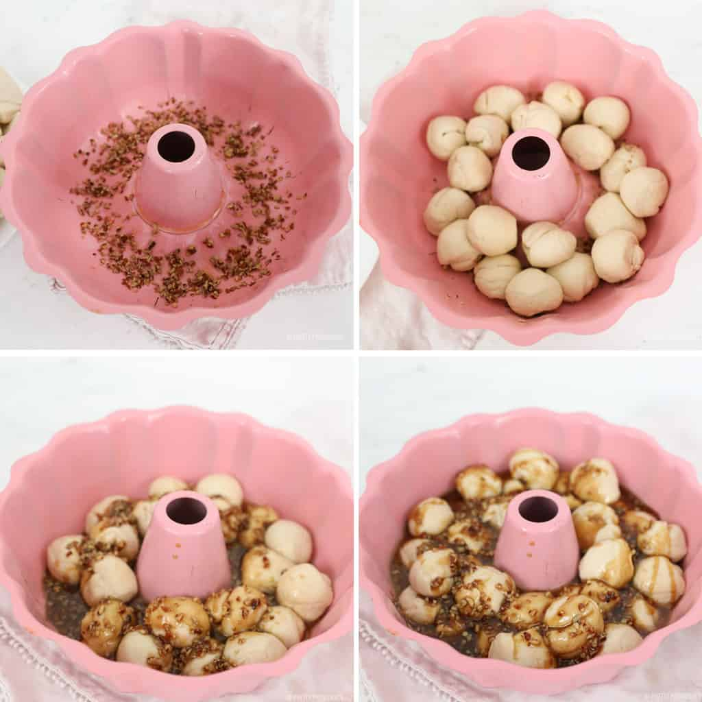 Collage of bundt pan being filled with nuts, biscuits, caramel