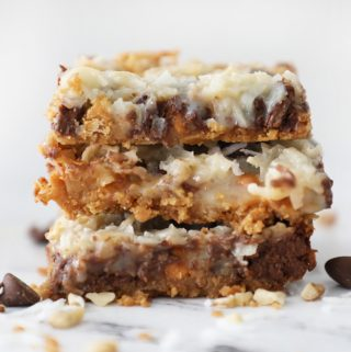 three seven layer bars in a stack against a white background