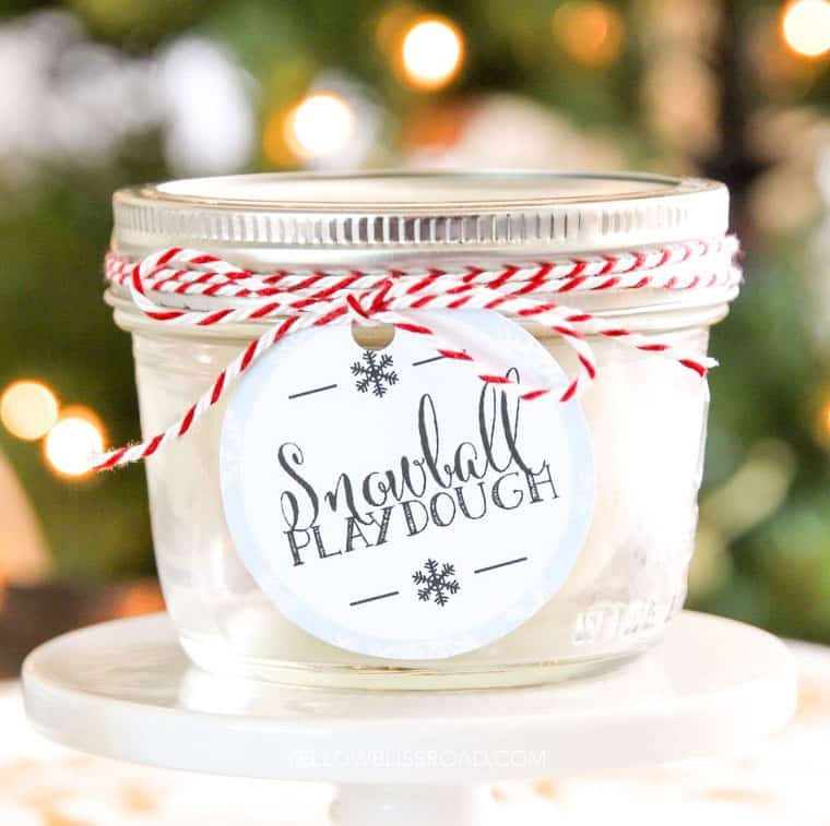Snowball play dough in a mini mason jar with holiday gift tag