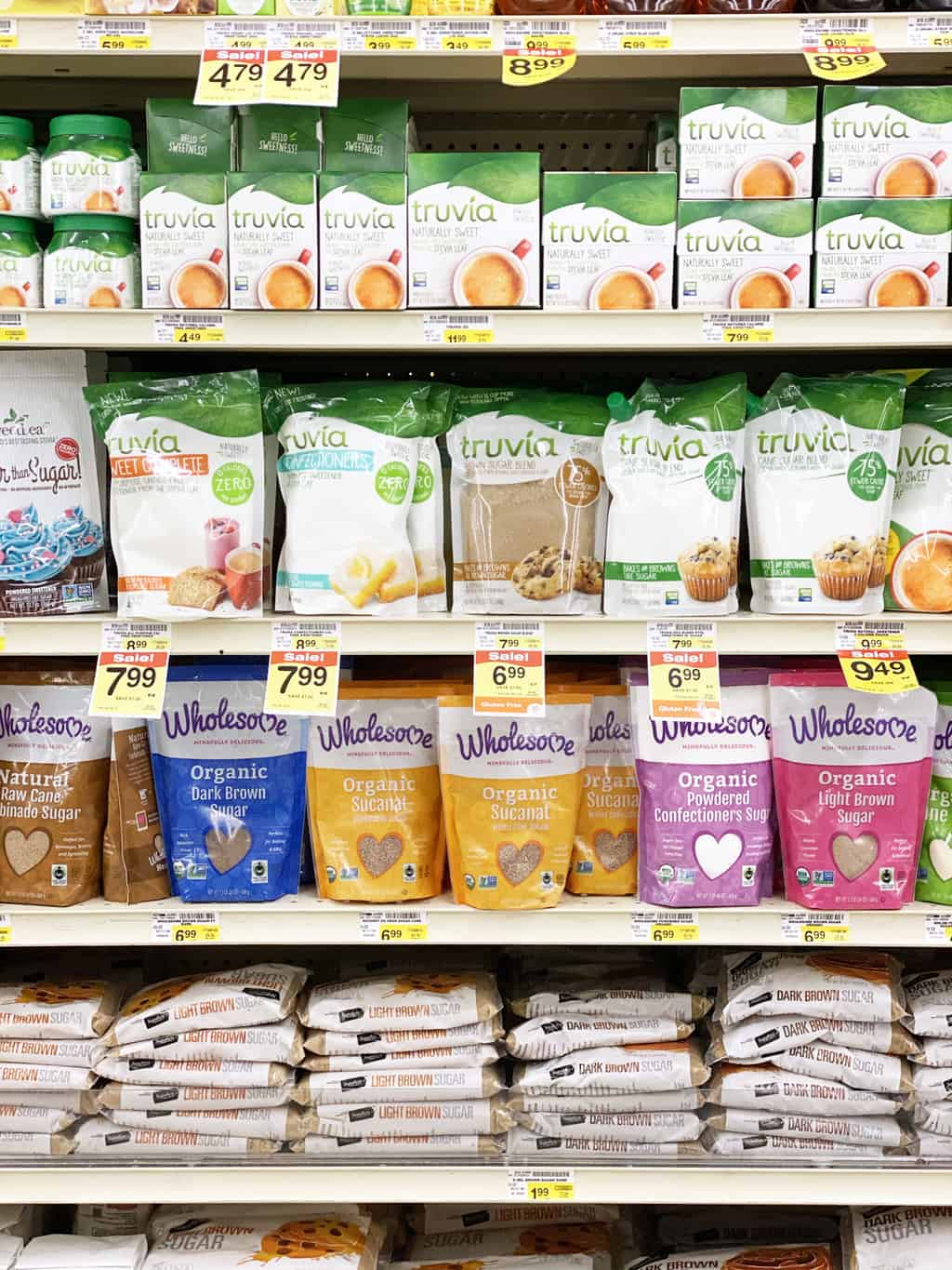 Albertsons shelves stocked with Truvia and other baking products