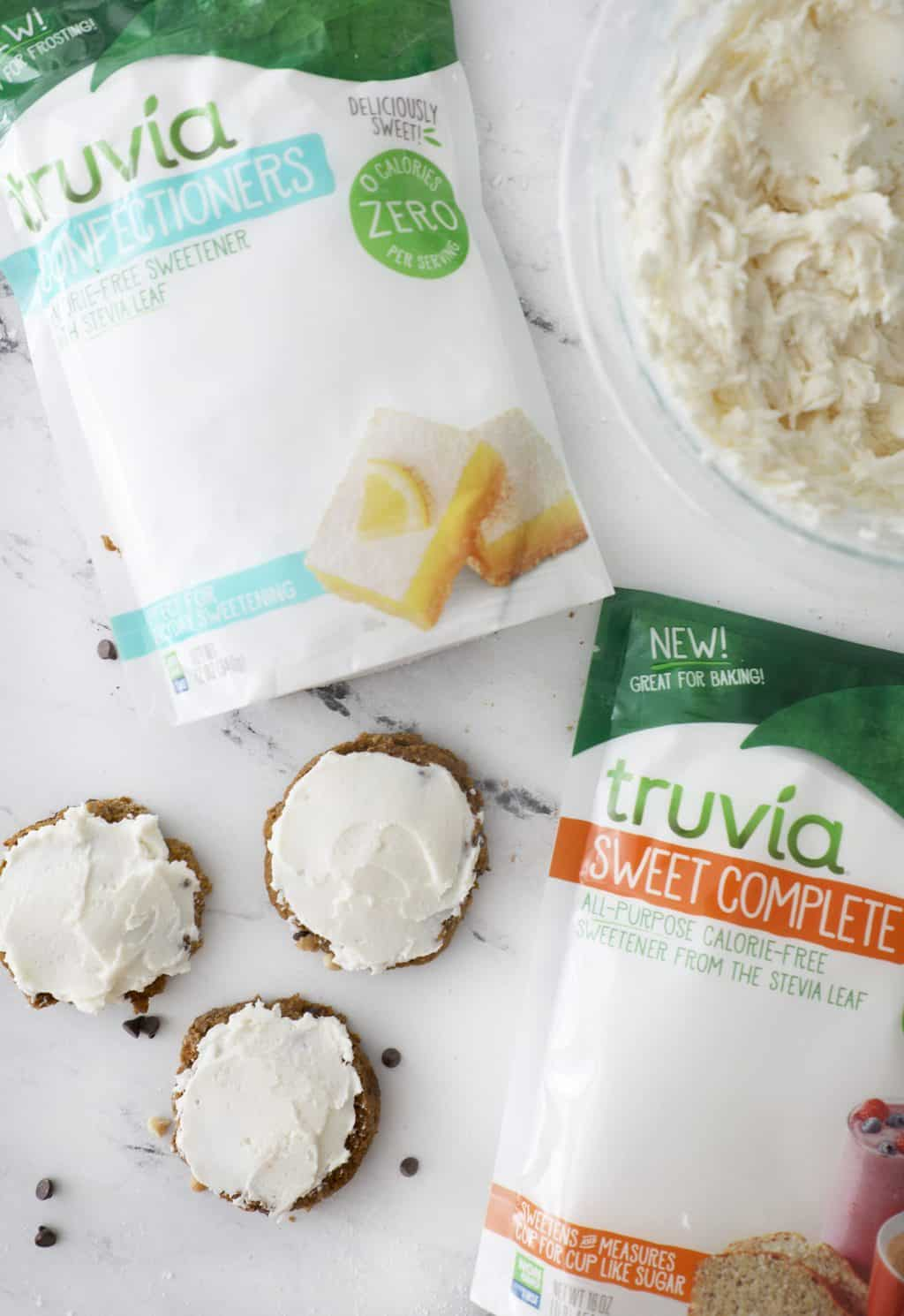 Truvia Sweet Complete next to cookies and Truvia Confectioners next to frosting
