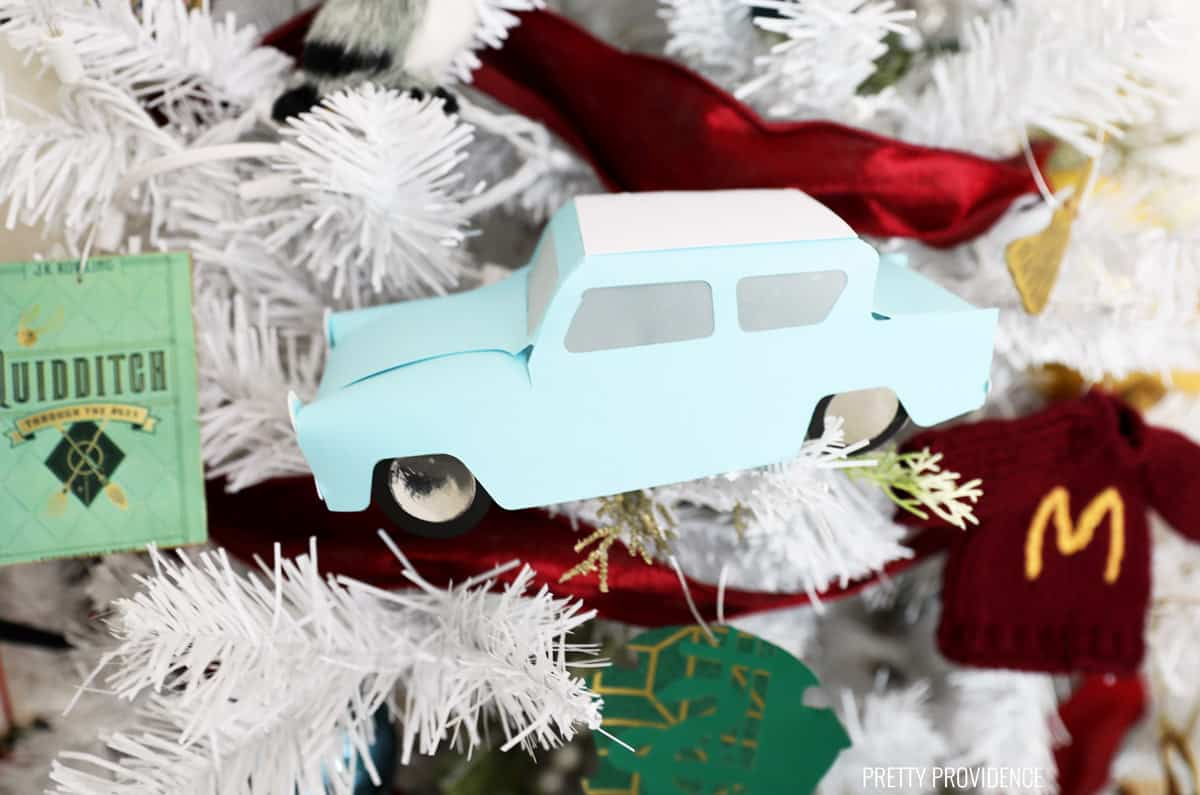 Harry Potter Ford Anglia Christmas ornament made from card stock