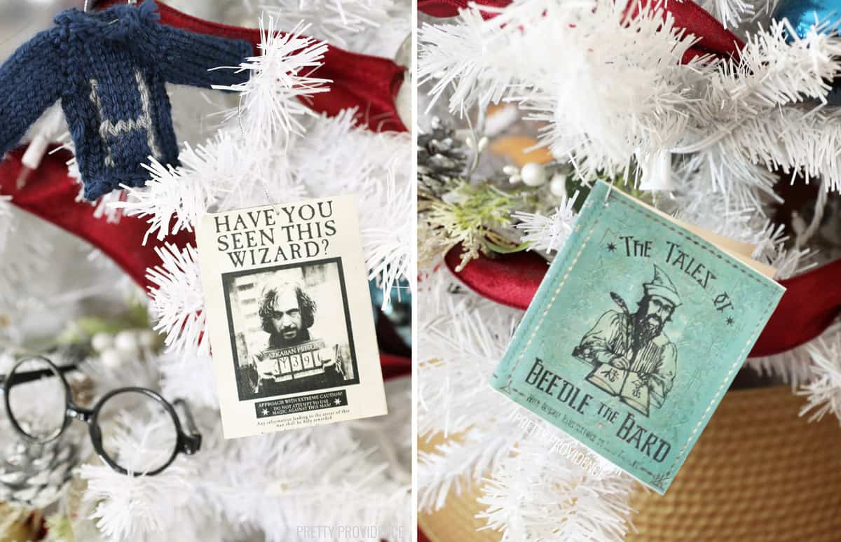 'Hav you Seen this Wizard' poster and 'Tales of Beedle the Bard' Christmas tree ornaments