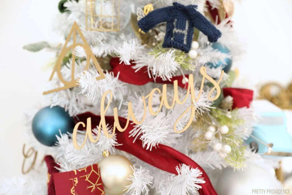 Large 'Always' Harry Potter Christmas tree ornament cursive word