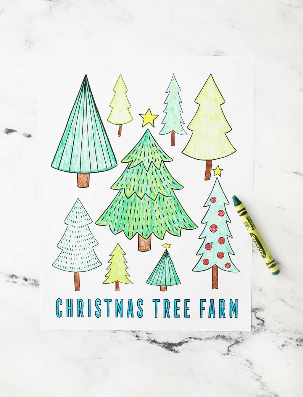 Christmas tree coloring page with the text Christmas tree farm on the bottom