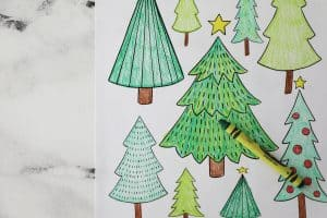 colored in Christmas trees zoomed in close