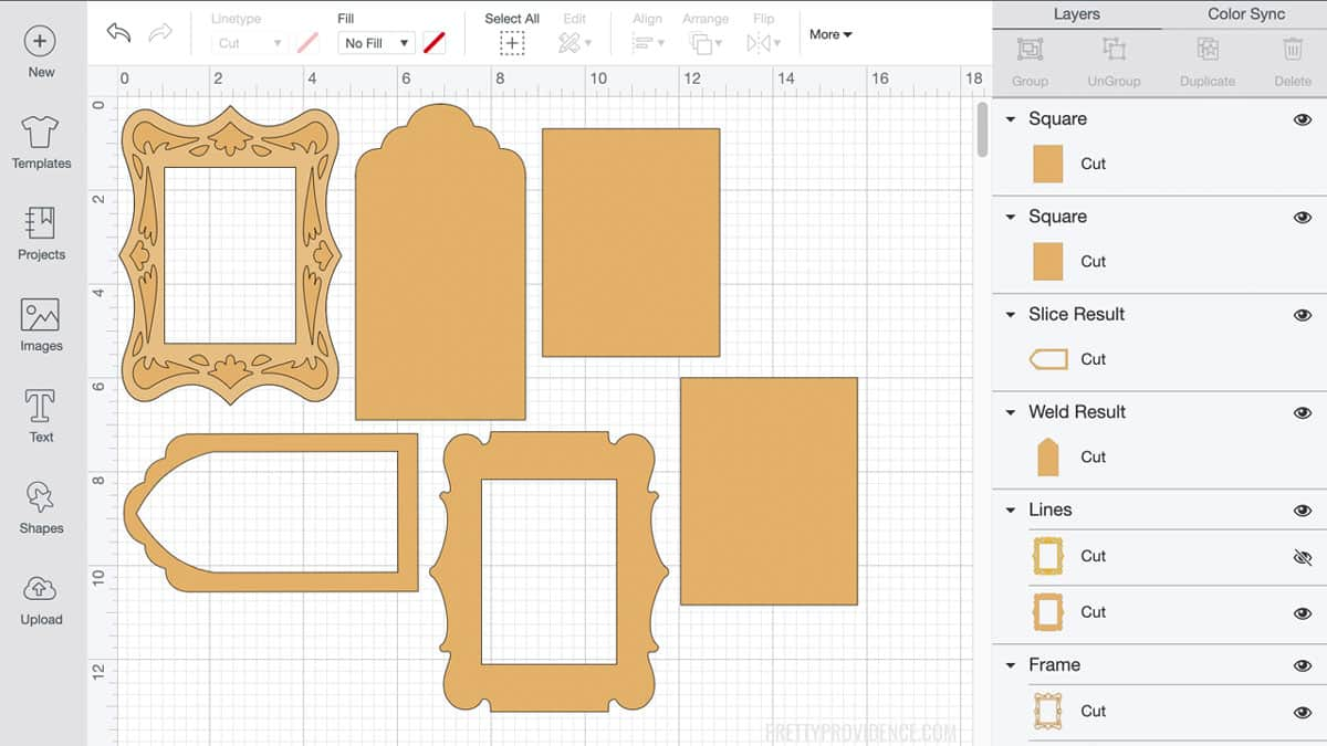 Cricut design space software with gold portrait frames design