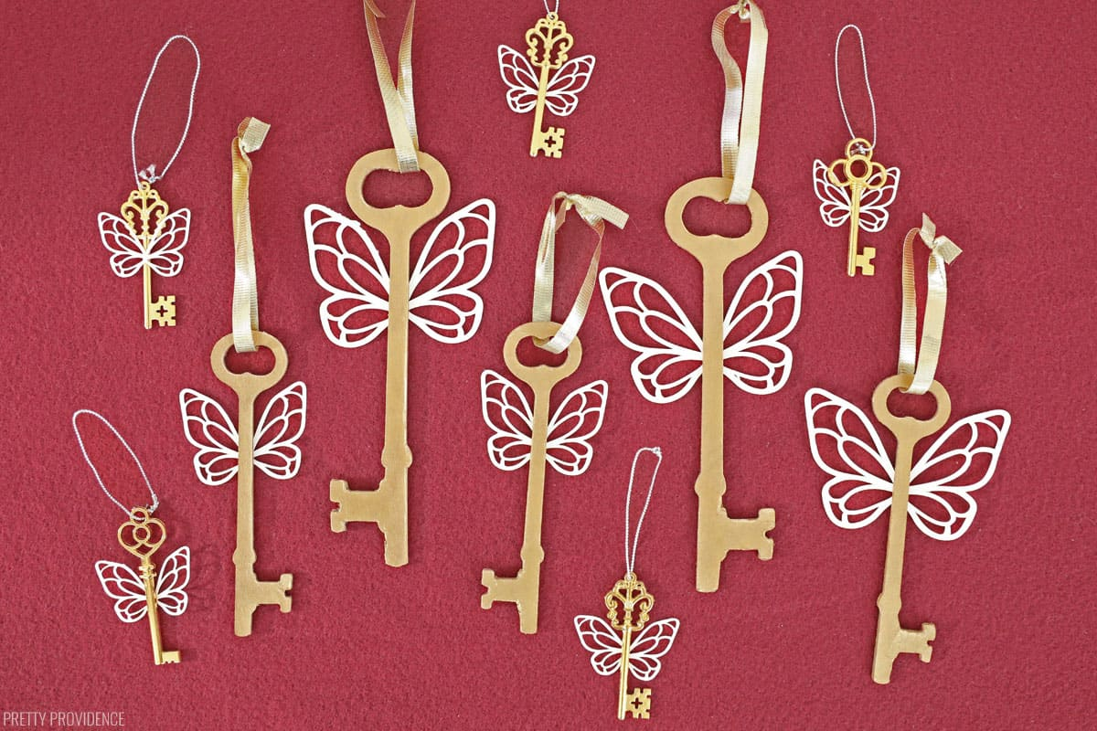 Gold Harry Potter Flying Keys with ribbon for ornament hooks