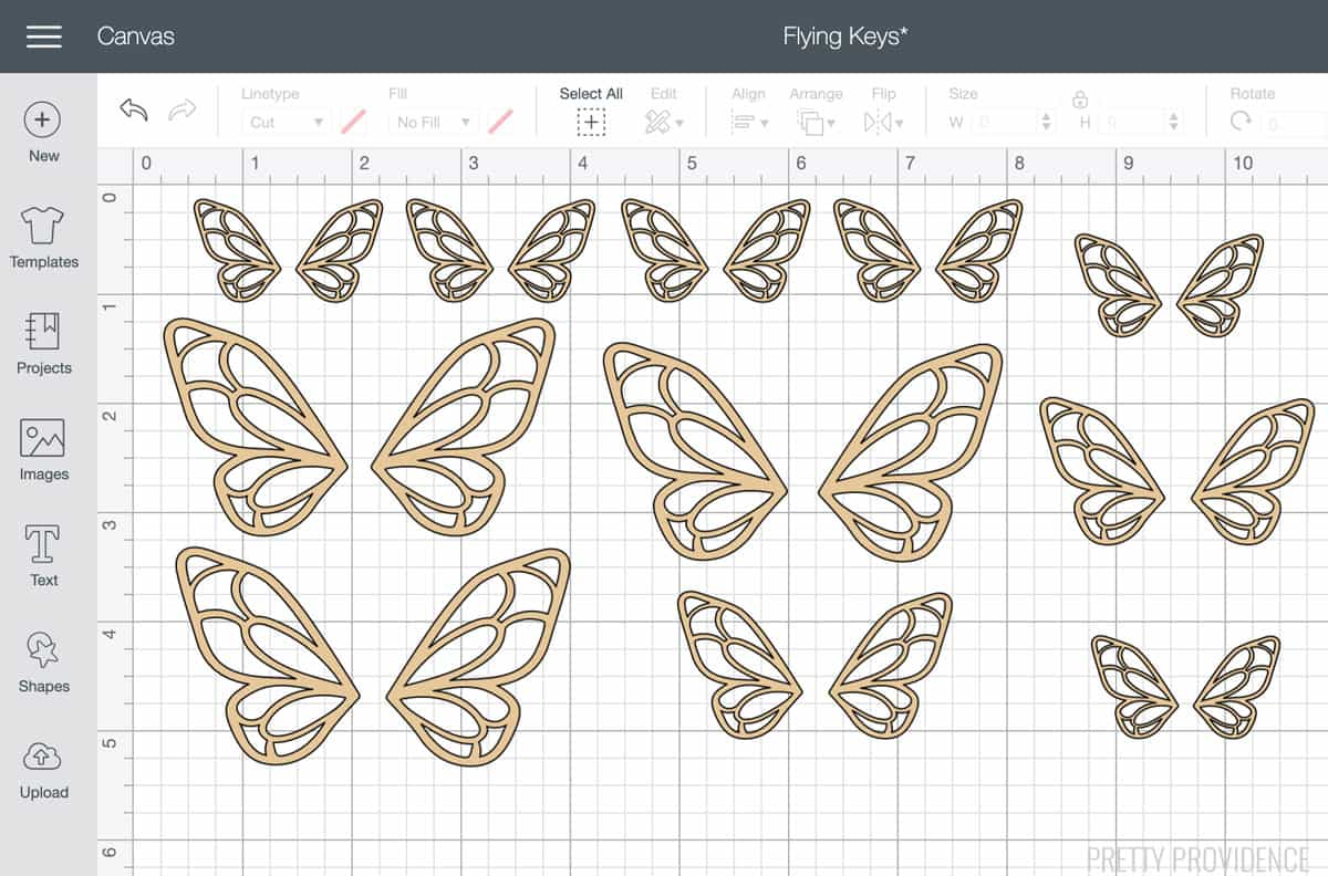 Wings in Cricut Design Space software