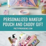 an image of a makeup bag and a makeup caddy in a collage for pinterest