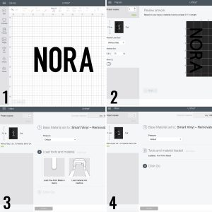 step by step collage for making a personalized label in design space