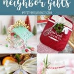 collage of neighbor gift ideas for Christmas