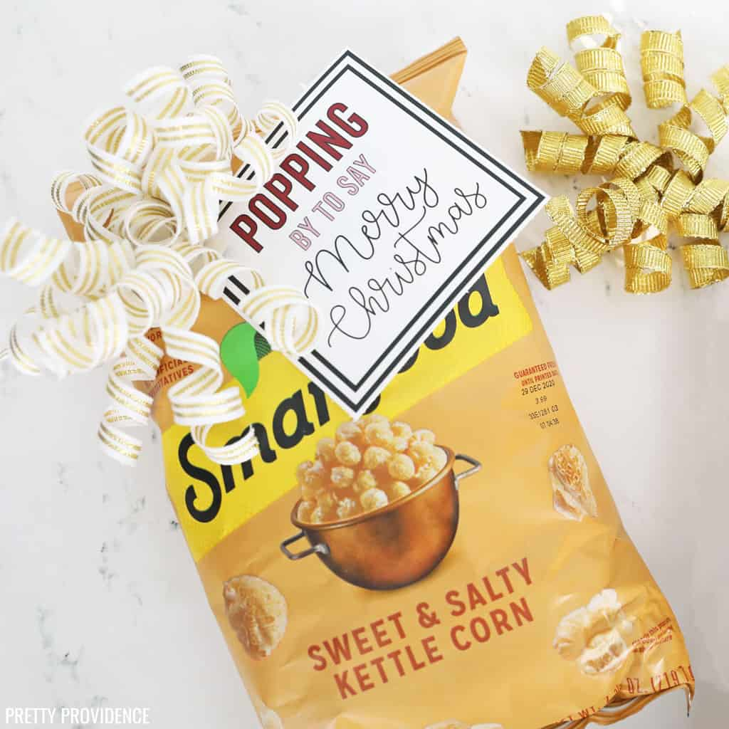 Smartfood Sweet & Salty Kettle Corn popcorn gift with bow and free printable Christmas tag