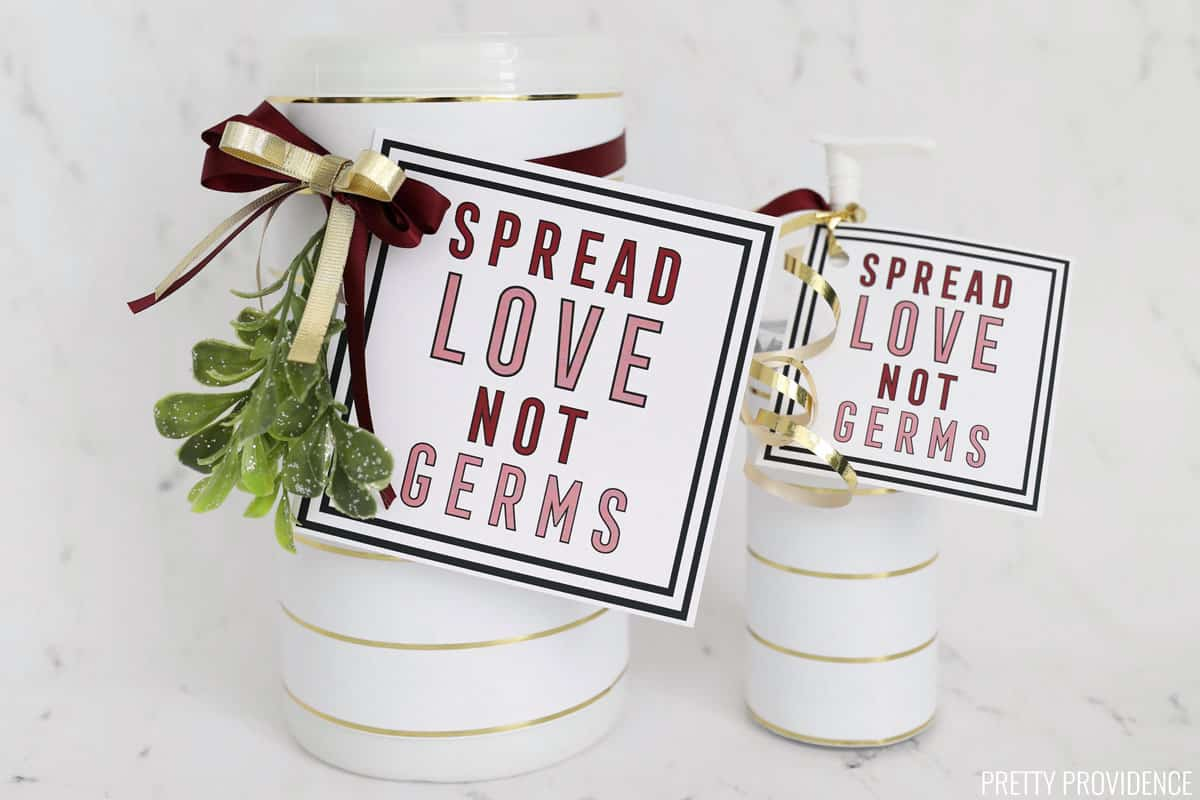 Spread love, not germs gift tags on hand sanitizer bottle and sanitizer wipes container