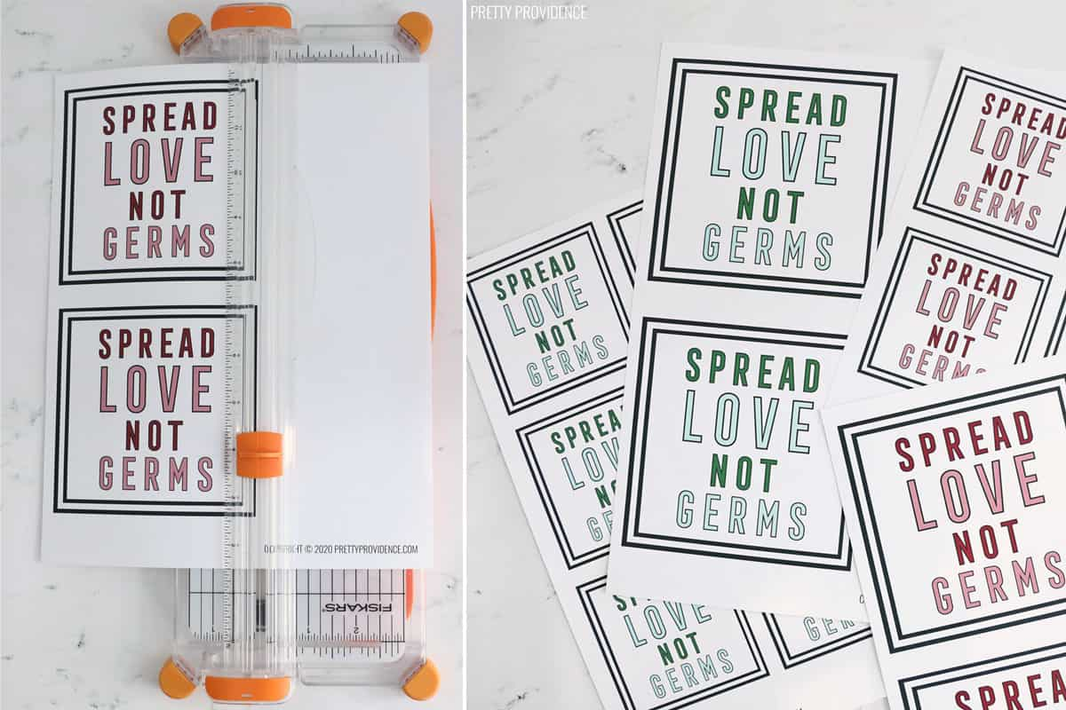 Spread love, not germs gift tags printed off on white paper and paper cutter