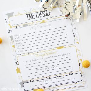Time capsule questions for kids new years activity